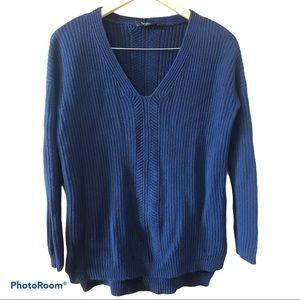 BABATON chunky knit v-neck navy cotton sweater